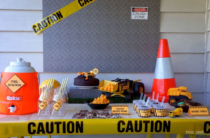 Construction-themed food table Styling by Four Leaf