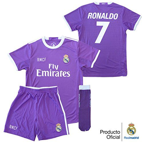 CONJUNTO - KIT 2ª EQUIPACION REPLICA OFICIAL REAL MADRID 2016-2017 CRISTIANO RONALDO NIÑO (8) #camiseta #starwars #marvel #gift