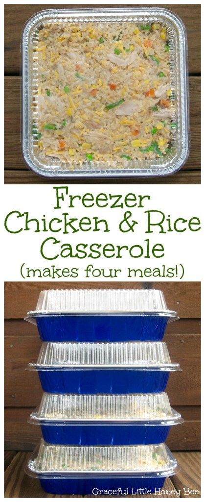 Try this easy dinner recipe for Freezer Chicken and Rice Casserole that makes four meals at once on gracefullittlehoneybee.com