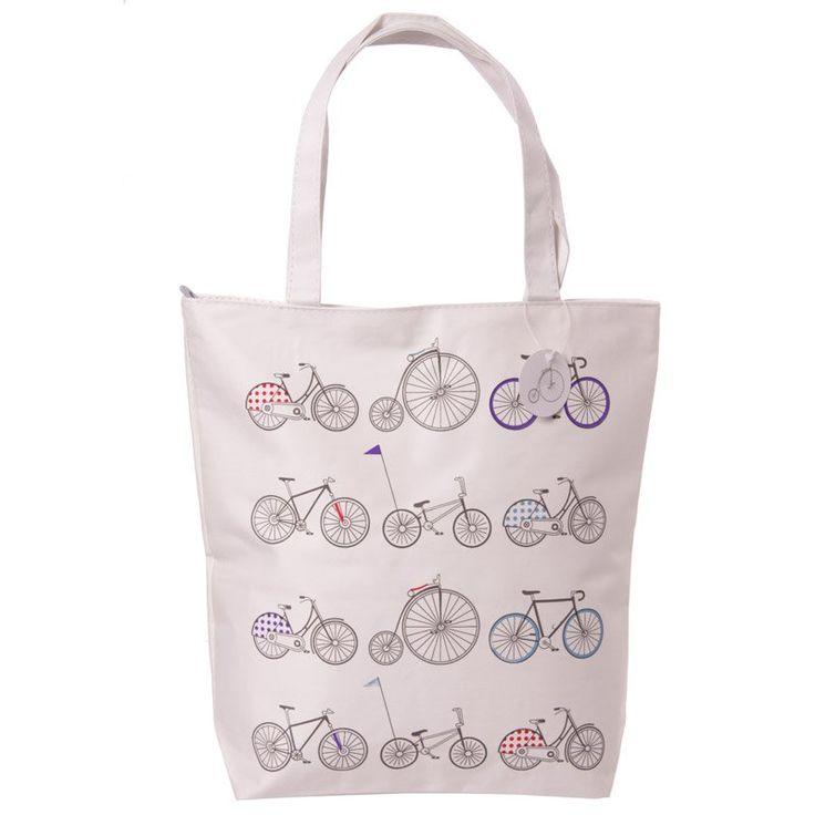 Handy Cotton Zip Up Shopping Bag - Cycling Design