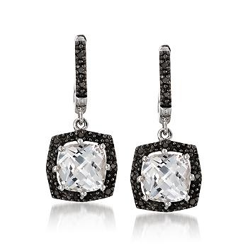 White Topaz And Black Diamond Earrings In Sterling Silver The Clic Style Of