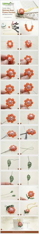 Jewelry Making Tutorial-Make a Delicate Rose Flower Pendant with Beads and Wire | PandaHall Beads Jewelry Blog