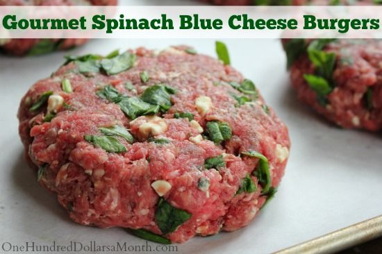 Freezer Meal – Gourmet Spinach Blue Cheese Burgers