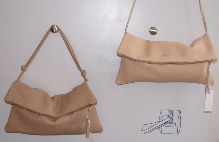 Delicate Nude and Ballerina pink. Jamie foldover clutch with detachable strap.