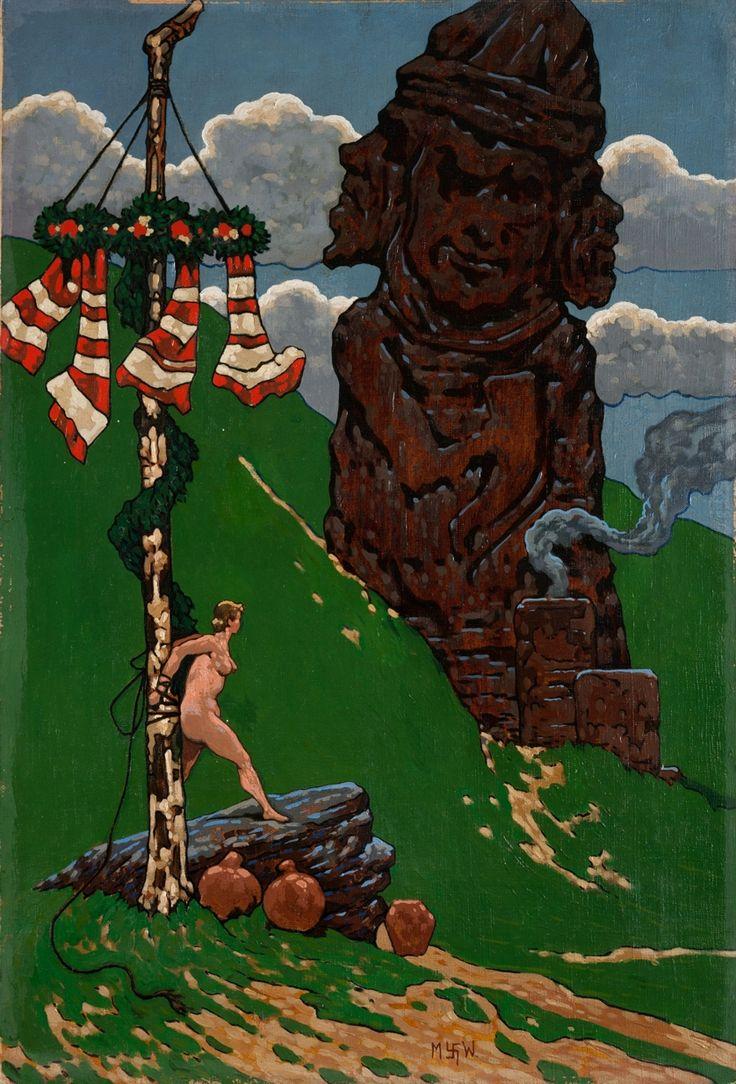 """""""Ofiara"""" – obraz z 1922 r. przedstawiający pogański obrzęd składania w darze bóstwu życia młodej kobiety. Z przekonaniem o takich praktykach namalował go Marian Wawrzeniecki – uchodzący za znawcę prastarych wierzeń. Współcześni oskarżali go też o lubowanie się w ukazywaniu okrucieństwa i szafowanie erotyką. Potężny idol kojarzy się z posągiem Światowida i kolosami z Wyspy Wielkanocnej."""