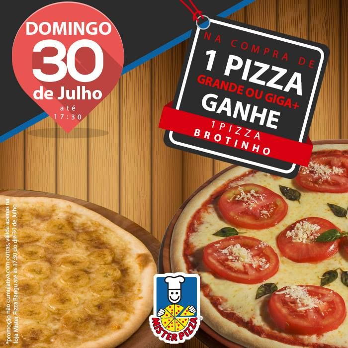Neste domingo, dia 30 de julho, tem promoção exclusiva no Mister Pizza Bangu Shopping!  Na compra de 1 Pizza Grande ou Giga , ganhe 1 pizza brotinho. Mas é só até as 17:30h deste domingo,  e só no Bangu Shopping! Aproveite! 🍕😉 #Phones #Computers#Electronics #Fashion #Beauty #Health