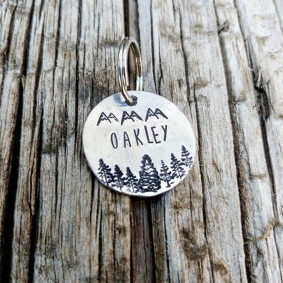 Astonishing Mountain And Pinetree Dog Tag Personalized Dog Tag Outdoor Download Free Architecture Designs Intelgarnamadebymaigaardcom