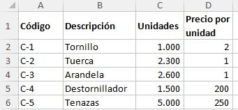 Word - Excel - Access (Clases, tutoriales y ejercicios): Ejemplo de factura usando la función BuscarV