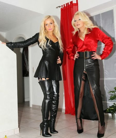Leather skirts in style for