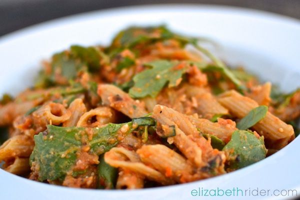 Healthy Pasta? Yes, please! Roasted Eggplant & Tomato Penne with Arugula & Pine Nuts - ElizabethRider.com