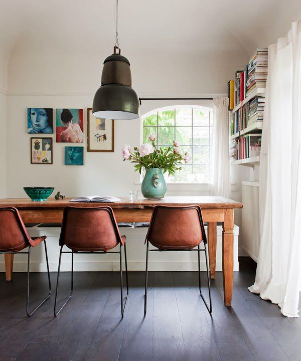 This dining room from Vt Wonen in the Netherlands caught my eye   the dark  floors  the farm housey table and the leather chairs  oh  and the vase with   164 best Dining Room images on Pinterest   Dining room  Live and  . Dining Room Chairs Homesense. Home Design Ideas