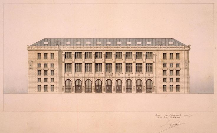 ✽ julien guadet (1834-1908) - new central post office, rue du louvre, paris 1880-1886 elevation of the main façade - © CNAM/SIAF/CAPA/ Archives du XXe siècle
