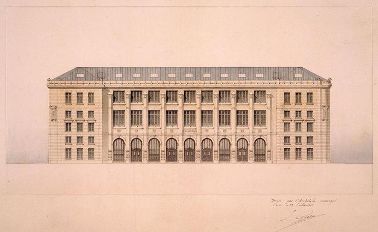 ✽ julien guadet (1834-1908) - new central post office, rue du louvre, paris 1880-1886 elevation of the main façade - © CNAM/SIAF/CAPA/ Archives du XXe siècle