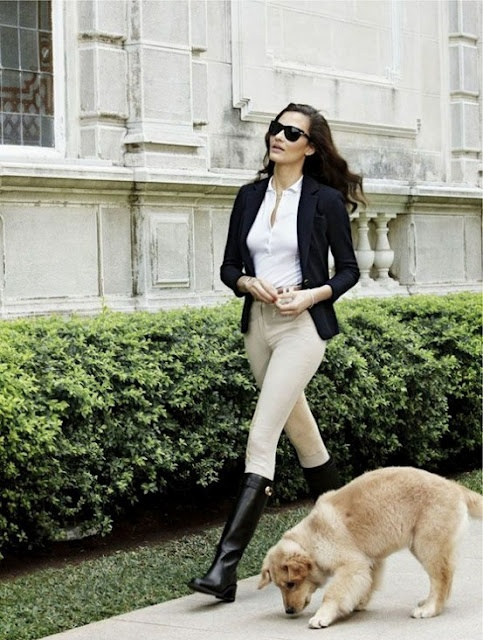 what's not to love? riding boots, fitted pants, white button down, black blazer, & loyal puppy. DONE.