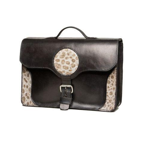 !Sold! - Big black leather briefcase with wolffish decoration. Piel de pez lobo