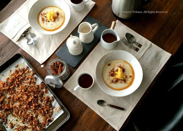 The Culinary Tribune › Grits with Cinnamon Apple and Coconut Bacon<br />グリッツの朝食&ポケット付きランチョンマット