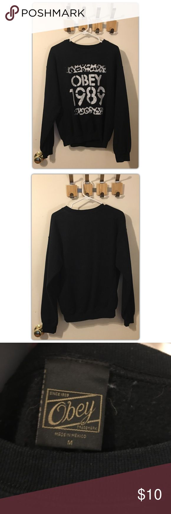 OBEY Sweatshirt OBEY Sweatshirt. Black with grey print. Leopard print. Cozy and warm. Size Medium. Obey Tops Sweatshirts & Hoodies
