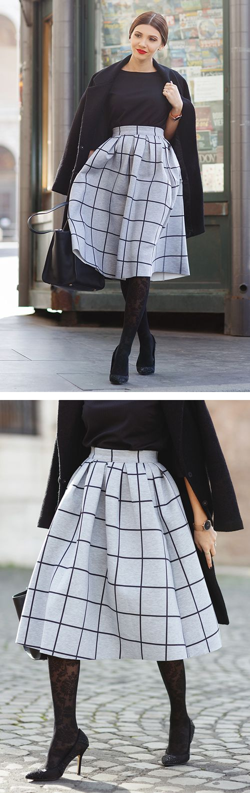 Get super sophisticated yet casual and comfy in our Grid Pleat pleated midi skirt composed of scuba fabric! Style with a tucked denim button-down and closed toe heels for a chic street style ensemble! Grid Print Pleated Midi Skirt featured by larisacostea Blog