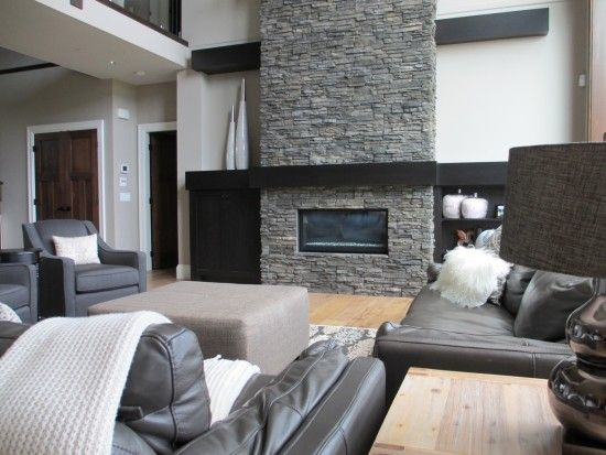 stone fireplaces with built ins | fireplace design, fireplace to ceiling, stacked stone, built ins ...