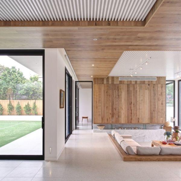 Sunken family room= homely, comfortable and interesting floor level Ceiling also interesting