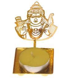 Buy Elegant Lord Shri Ram golden Machine Cutting Work Festive Diya with Wax diya online