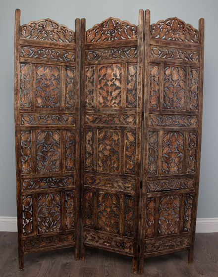 Moroccan Hand Carved Handmade Wooden Screen Room Divider Three Panel