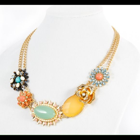 "Florals & Fun Statement Necklace Fabulous, colorful and feminine statement necklace with resin stones. Metal: zinc alloy 18 karat gold plating. 20"" long Jewelry Necklaces"