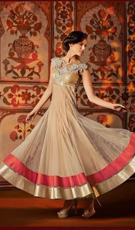 Beige Net Long Length Anarkali Churidar Suit Price: Usa Dollar $325, British UK Pound £190, Euro239, Canada CA$346 , Indian Rs17550.