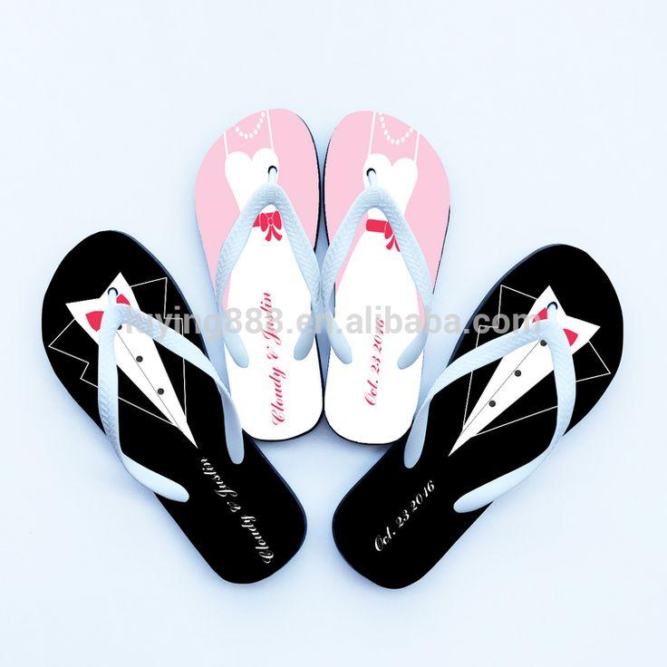 Customized Printed Cheap Flip Flops Promotion Wedding Bride Bridesmaid Groom