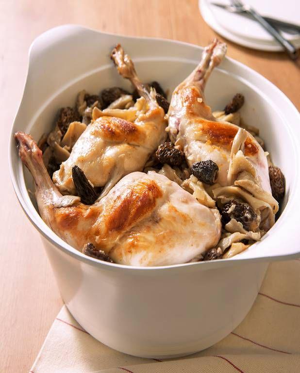 Cuisses de lapin safranées, fricassée de champignons pour 6 personnes - Recettes Elle à Table