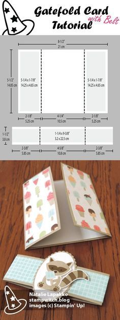 Gatefold card with belt tutorial by Natalie Lapakko featuring Tasty Treats DSP and Foxy Friends stamps from Stampin' Up!