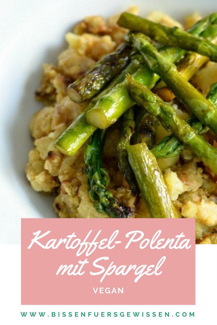 Rezept für vegane Kartoffel-Polenta-Pfanne mit grünem Spargel. Rezept für den Frühling und die kurze Spargelzeit. Sattmachende Hautspeise für das Mittagessen.