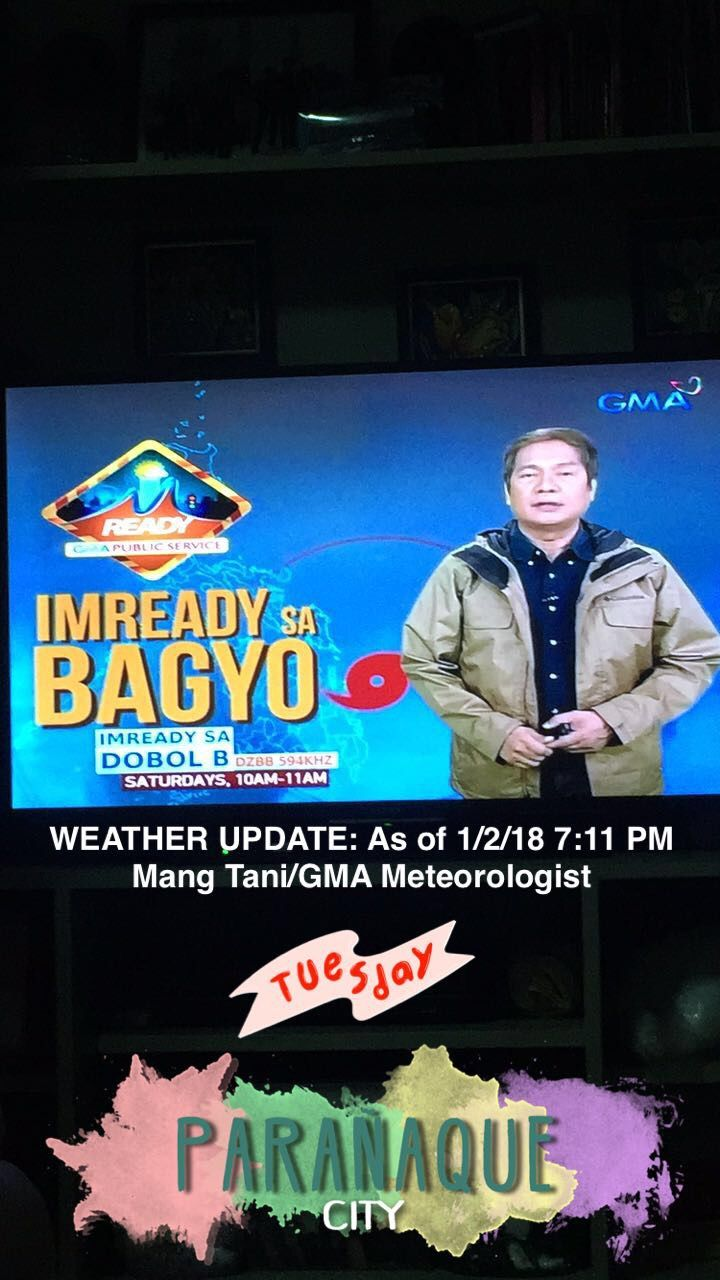 Weather Update: As of 1/2/18 7:11 PM (Report by: Mang Tani/GMA Meteorologist) [Courtesy: 24 Oras/GMA Network]