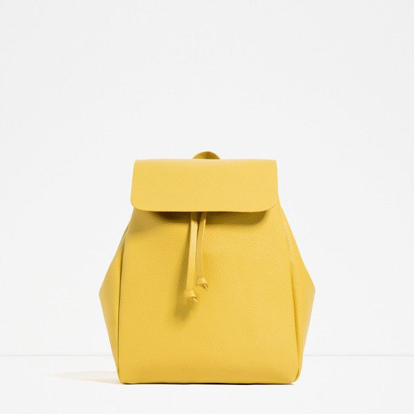 Zara Backpack With Foldover Flap ($30) ❤ liked on Polyvore featuring bags, backpacks, yellow, zara bags, leather bags, rucksack bag, white backpack and day pack backpack