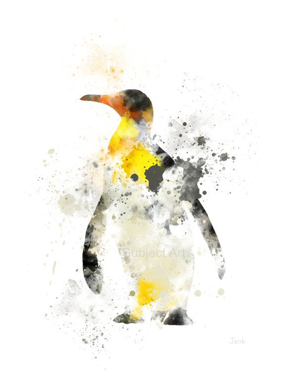 Emperor Penguin ART PRINT illustratie, dier, dieren in het wild, Wall Art, Decor van het huis