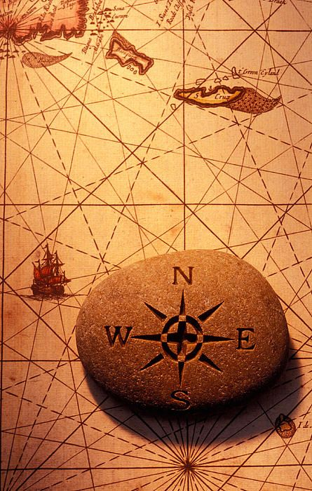 ❦ Stone compass, ancient map.