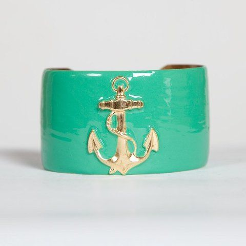 love the teal and goldNautical Jewelry, Cuffs Bracelets, Hampton Style, Anchors Bracelets, Beach Cottages, Turquoise Cuff, Part Gamma, Accessories, Anchors Cuffs