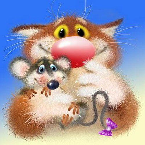 Картинки, открытки с котами и мышами
