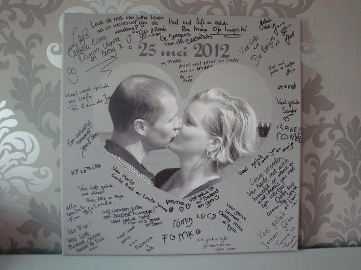 Portfolio tekst op canvas: Leuk idee, je huwelijks gastenboek op canvas!