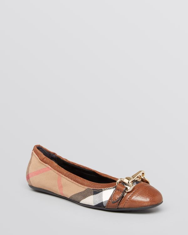 Burberry Cap Toe Ballet Flats - Shipley | Leather and canvas upper, leather lining, rubber sole | Made in Italy | Fits true to size, order your normal size  | Available in full and half sizes | Web ID