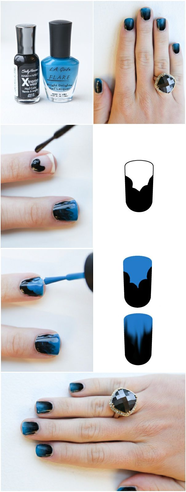 Easy Ombre Nails#Repin By:Pinterest++ for iPad#: Nails Art, Nailart, Nails Design, Black Nails, Gradient Nails, Nails Polish, Ombre Nails, Nails Tutorials, Blue Nails