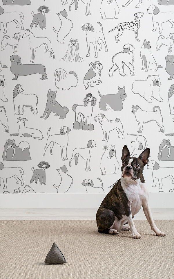 Grey And White Bulldog And Sausage Dog Pattern Pet Wallpaper Mural Dog Wallpaper Bulldog Wallpaper Animal Decor