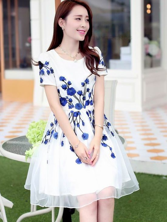 Embroidery Back Zipper Mid Waist Knee-Length Dress Women Summer Spring Casual Dress - BuyTrends.com