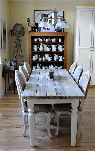 farmhouse style, county chic, rustic, living room, long dining table, vintage vases pictures.
