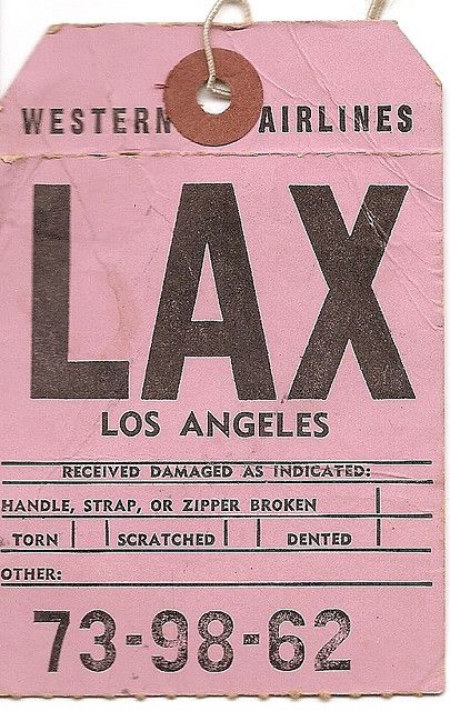 https://flic.kr/p/4ES3Lt | Western Airlines - LAX Los Angeles | Vintage Airline Baggage Tag.  In 1986 Western Airlines was purchased by Delta Air Lines, and was fully merged into that airline on 1 April 1987.