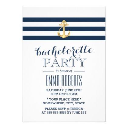 #wedding - #Gold Anchor Navy Stripes Nautical Bachelorette Card