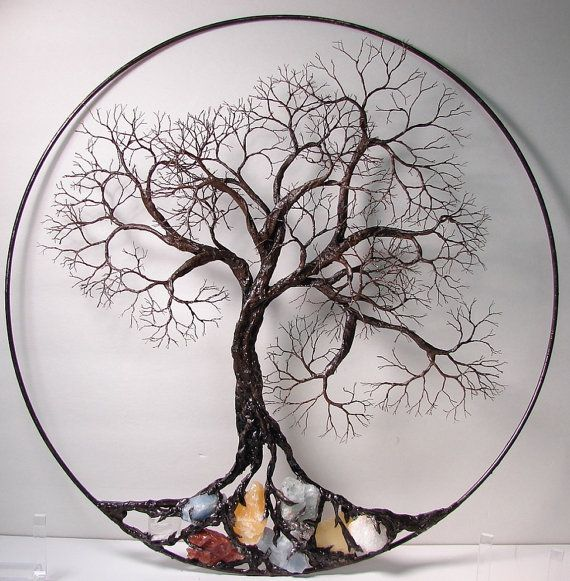 """Wire Tree Of Life Ancient Spirit sculpture with natural Calcites, original Art 16"""" wall hanging decor"""