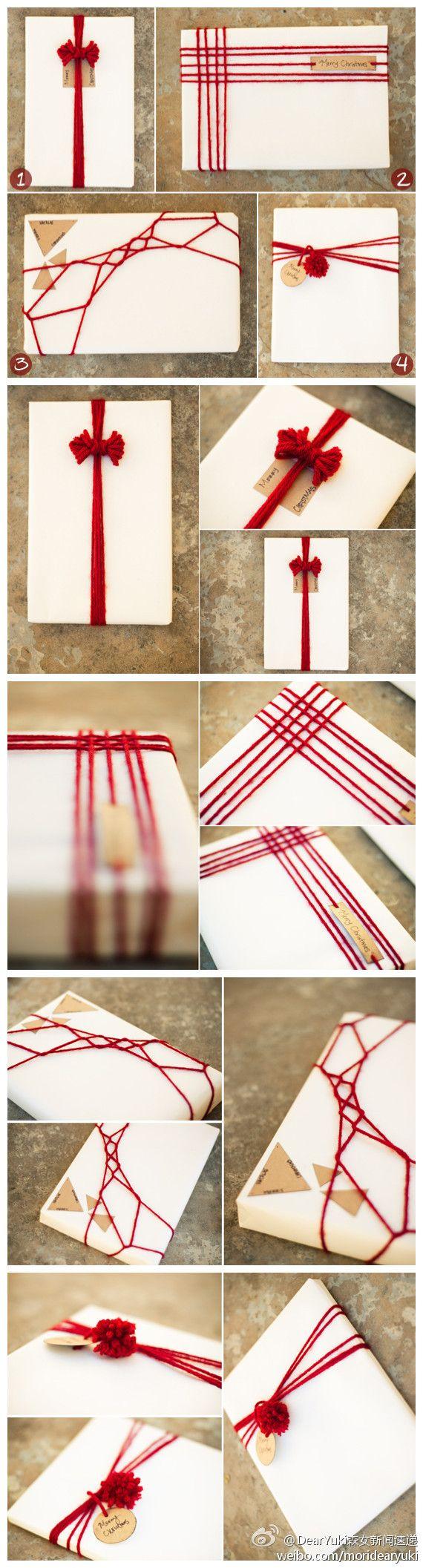 No instructions. No English. But interesting ideas for wrapping with string. 森女系圣诞节红毛线包装~_来自lammywu的图片分享-堆糖网