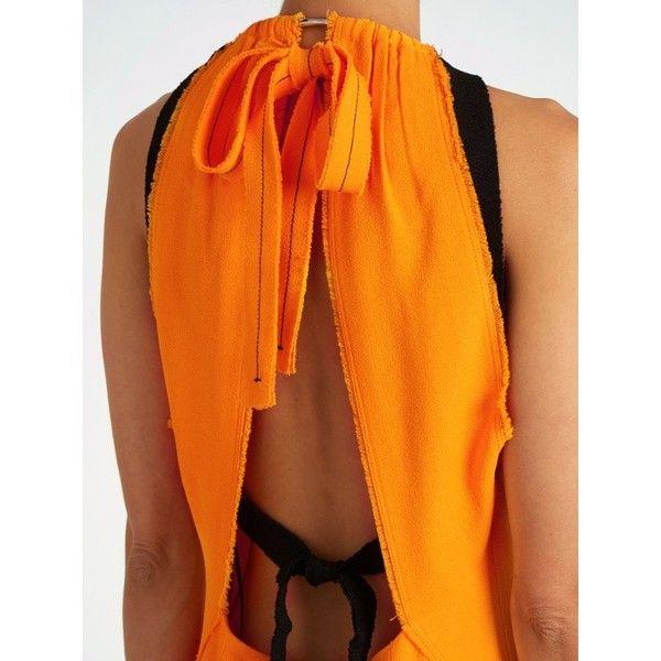 Proenza Schouler Choker-neck crepe midi dress ($1,100) ❤ liked on Polyvore featuring dresses, orange midi dress, open back dresses, proenza schouler, mid calf dresses and crepe fabric dress