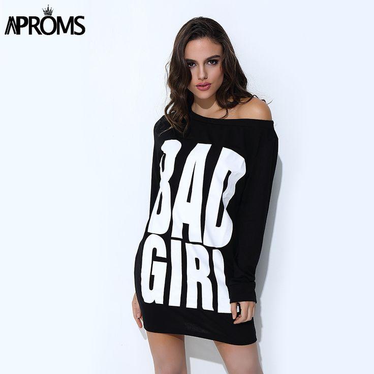 Aproms Summer Bad Girl Print T shirt Dress Women Gray Black Long Sleeve Loose Tunic Dresses Casual Long Tops Sundress Vestidos
